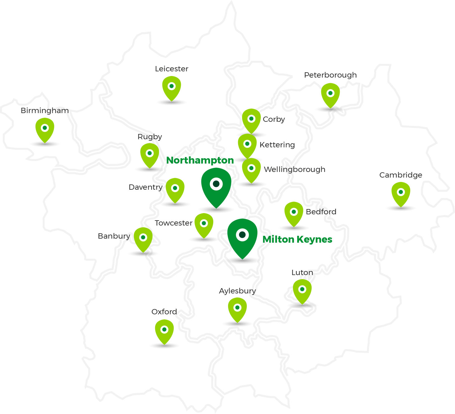 Covering Milton Keynes, Northampton, Birmingham, Leicester, Rugby, Banbury, Oxford, Peterborough, Corby, Kettering, Wellingborough, Bedford, Cambridge, Luton, Aylesbury